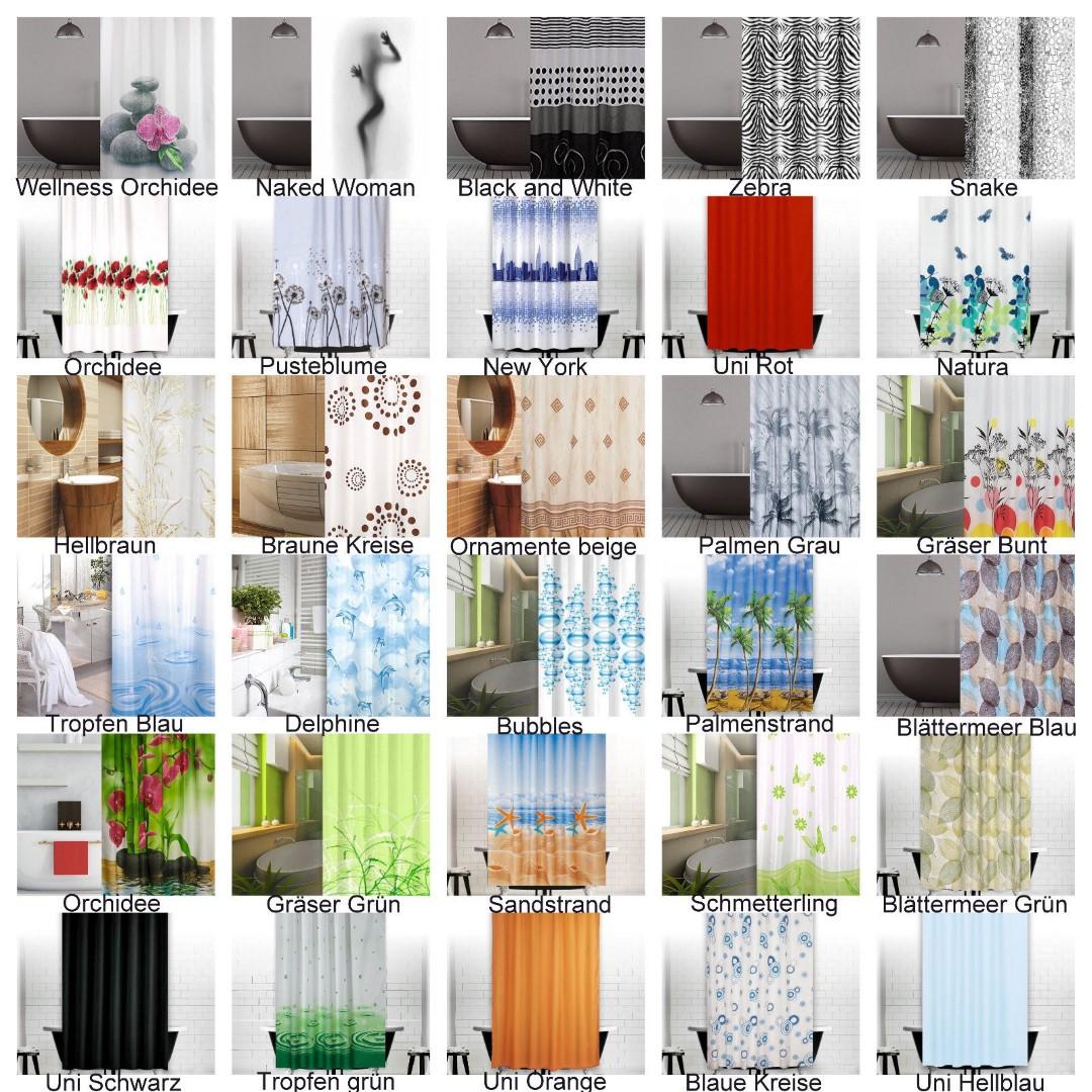 mega auswahl duschvorhang inkl ringe 120 180 200 240 weiss blau schwarz ebay. Black Bedroom Furniture Sets. Home Design Ideas