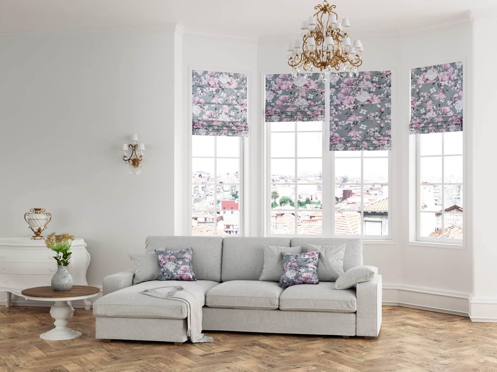 premium raffrollo blumen grau weiss rosa lila faltrollo. Black Bedroom Furniture Sets. Home Design Ideas